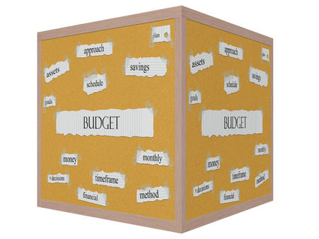timeframe: Budget 3D cube Corkboard Word Concept with great terms such as savings, plan, goals and more.
