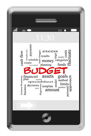 Budget Word Cloud Concept of Touchscreen Phone with great terms such as plan, goals, money and more. photo