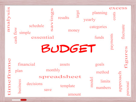 Budget Word Cloud Concept on a Whiteboard with great terms such as categories, goals, assets and more. photo