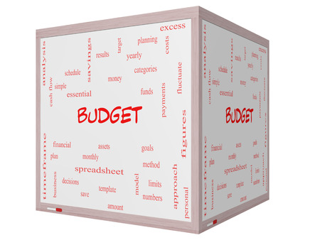 Budget Word Cloud Concept on a 3D cube Whiteboard with great terms such as categories, goals, assets and more. photo