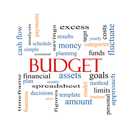 Budget Word Cloud Concept with great terms such as categories, goals, assets and more. photo