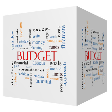fluctuate: Budget 3D cube Word Cloud Concept with great terms such as categories, goals, assets and more.