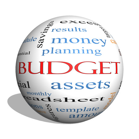 timeframe: Budget 3D sphere Word Cloud Concept with great terms such as categories, goals, assets and more.