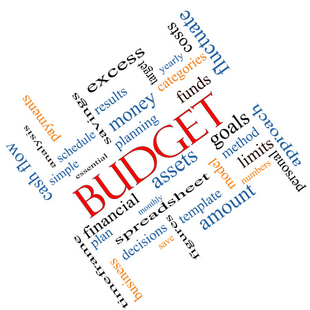 timeframe: Budget Word Cloud Concept angled with great terms such as categories, goals, assets and more. Stock Photo