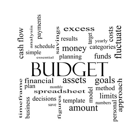 timeframe: Budget Word Cloud Concept in black and white with great terms such as categories, goals, assets and more. Stock Photo