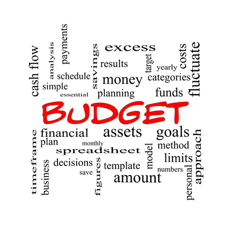 spreadsheets: Budget Word Cloud Concept in red caps with great terms such as categories, goals, assets and more.