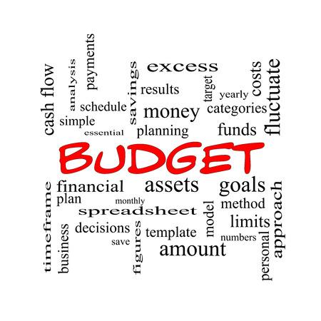 hoja de calculo: Presupuesto Palabra Nube Concepto de gorras rojas con grandes términos como categorías, las metas, los activos y más.