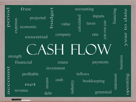 year financial statements: Cash Flow Word Cloud Concept on a Blackboard with great terms such as return, investment, payments and more.
