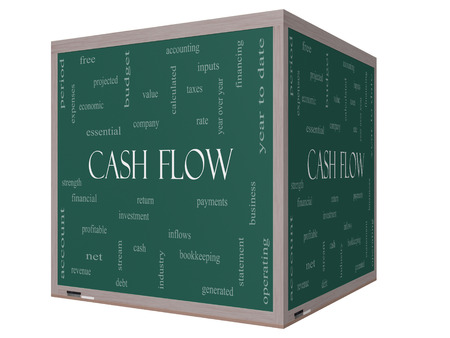 Cash Flow Word Cloud Concept on a 3D cube Blackboard with great terms such as return, investment, payments and more. photo
