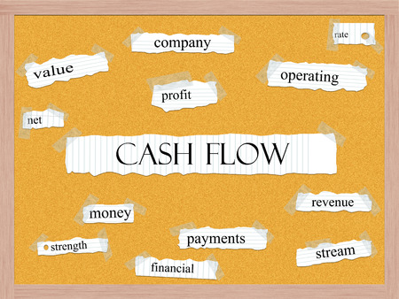 cashflow: Cash Flow Corkboard Word Concept with great terms such as net, value, stream and more.