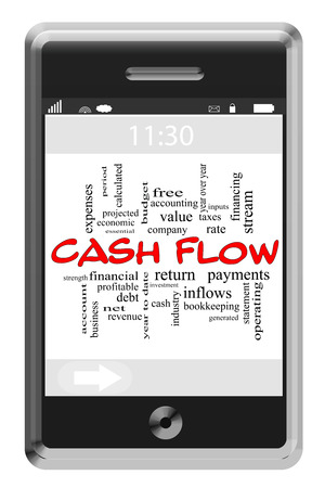 cash flow statement: Cash Flow Word Cloud Concept of Touchscreen Phone with great terms such as revenue, stream, net and more. Stock Photo