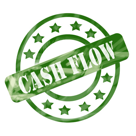 cashflow: A green ink weathered roughed up circles and stars stamp design with the words CASH FLOW on it making a great concept.