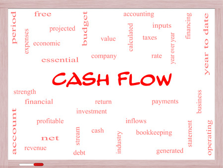 year financial statements: Cash Flow Word Cloud Concept on a Whiteboard with great terms such as return, investment, payments and more.