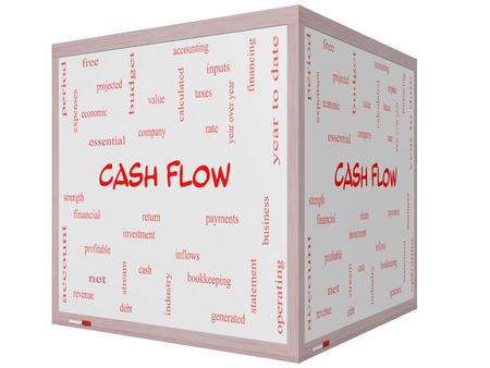 year financial statements: Cash Flow Word Cloud Concept on a 3D cube Whiteboard with great terms such as return, investment, payments and more. Stock Photo