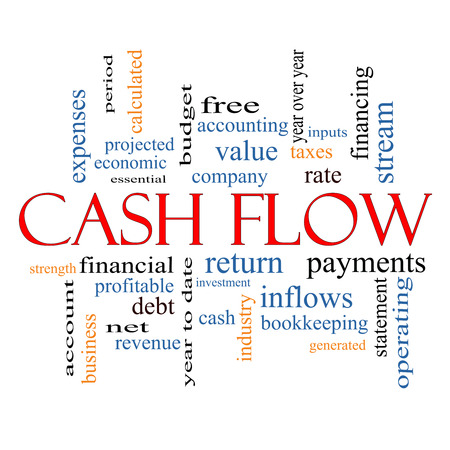 calculated: Cash Flow Word Cloud Concept with great terms such as return, investment, payments and more. Stock Photo