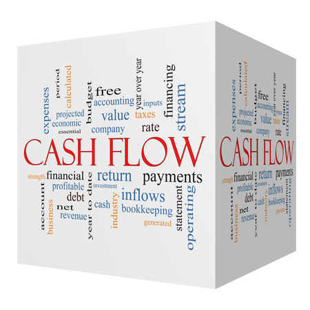 Cash Flow 3D cube Word Cloud Concept with great terms such as return, investment, payments and more.