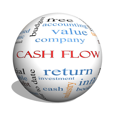 Cash Flow 3D sphere Word Cloud Concept with great terms such as return, investment, payments and more.