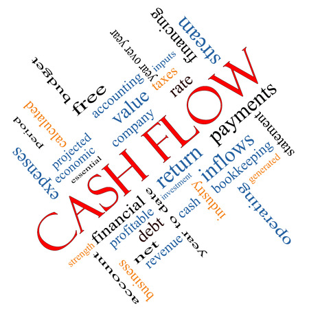 Cash Flow Word Cloud Concept angled with great terms such as return, investment, payments and more.