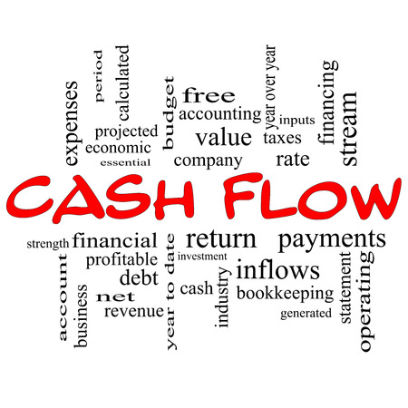 Cash Flow Word Cloud Concept in red caps with great terms such as return, investment, payments and more. photo