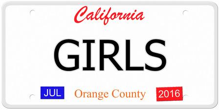 Een imitatie Nummerplaat van Californië met het woord GIRLS en labels Orange County het maken van een geweldig concept.