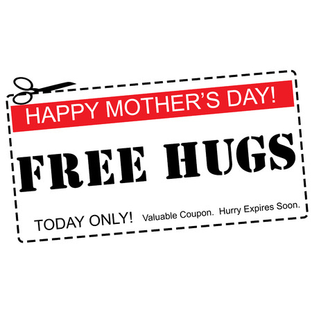 expires: A red, white and black Mothers Day coupon for a Free Hugs making a great concept.