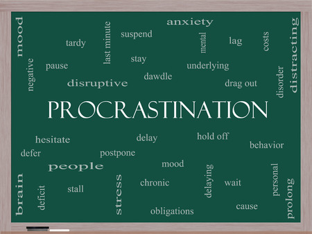 delaying: Procrastination Word Cloud Concept on a Blackboard with great terms such as anxiety, delay, behavior and more.