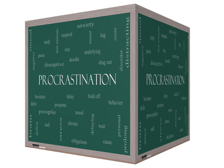 delaying: Procrastination Word Cloud Concept on a 3D cube Blackboard with great terms such as anxiety, delay, behavior and more.
