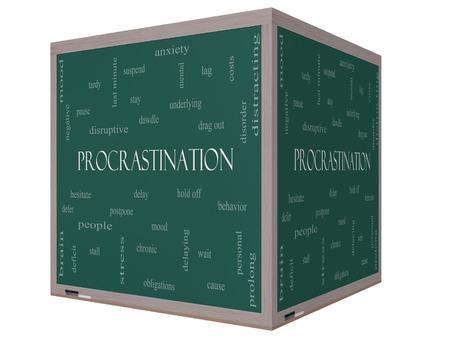 Procrastination Word Wolke Konzept auf einem 3D-Würfel Tafel mit großen Begriffen wie Angst, Delay, Verhalten und vieles mehr.