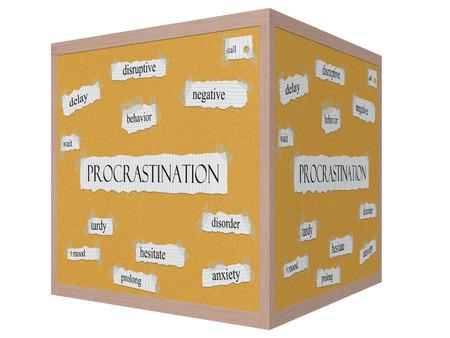 Procrastination 3D-Würfel Corkboard Word-Konzept mit großen Begriffen wie disruptive, stall, warten, und vieles mehr.