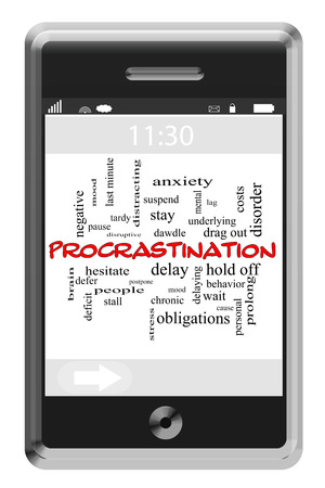Procrastination Word Wolke Konzept der Touchscreen-Handy mit großen Begriffen wie spät, halten Sie, Stimmung und mehr. Standard-Bild