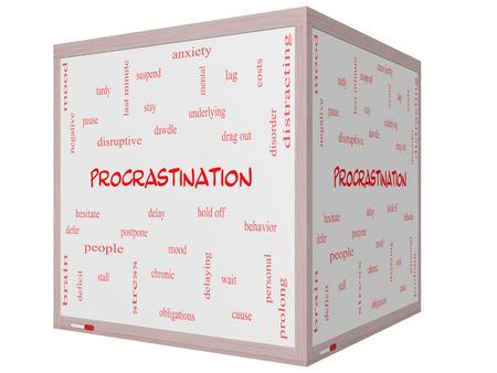 Procrastination Word Wolke Konzept auf einem Whiteboard 3D-Würfel mit großen Begriffen wie Angst, Delay, Verhalten und vieles mehr.