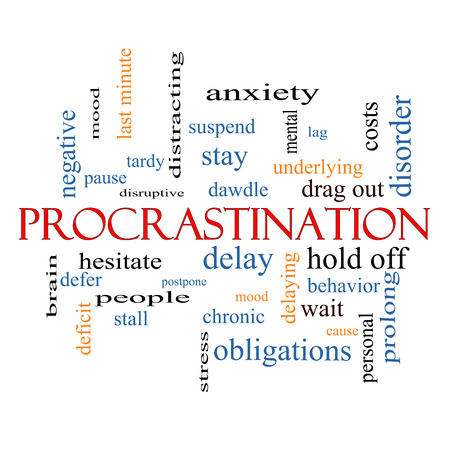Procrastination Word Cloud Concept with great terms such as anxiety, delay, behavior and more.
