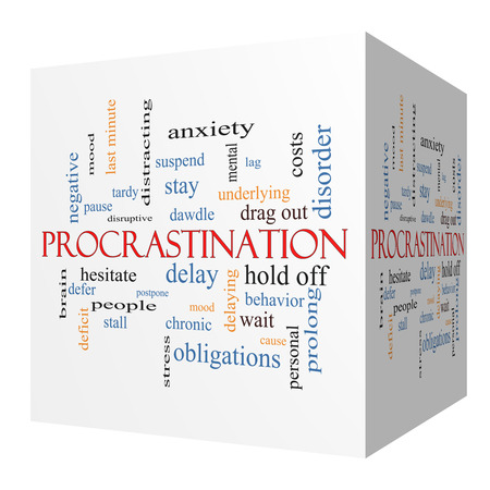 Procrastination 3D cube Word Cloud Concept with great terms such as anxiety, delay, behavior and more.