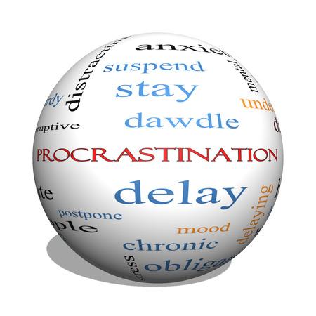 Procrastination 3D-Kugel-Wort-Wolke Konzept mit großen Begriffen wie Angst, Delay, Verhalten und vieles mehr.