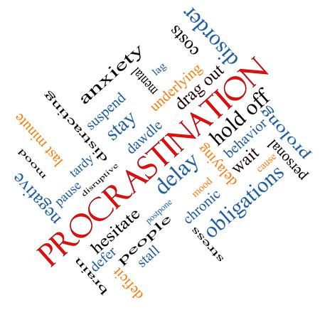 Procrastination Word Wolke Konzept abgewinkelt mit großen Begriffen wie Angst, Delay, Verhalten und vieles mehr.
