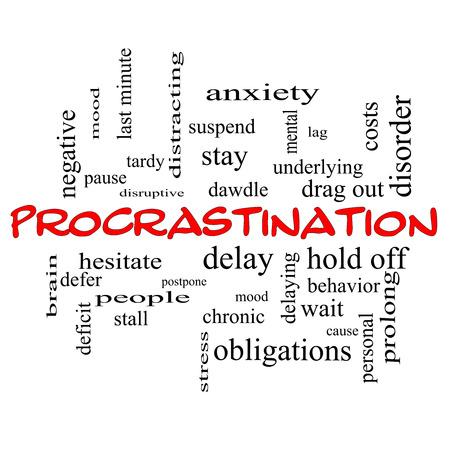 Procrastination Wort-Wolke Konzept in roten Kappen mit großen Begriffen wie Angst, Delay, Verhalten und vieles mehr. Standard-Bild