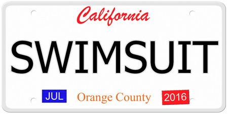 Een imitatie Nummerplaat van Californië met het woord zwembroek en labels Orange County het maken van een geweldig concept.