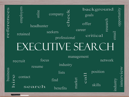 retained: Executive Search Word Cloud Concept on a Blackboard with great terms such as management, recruiter, career and more.