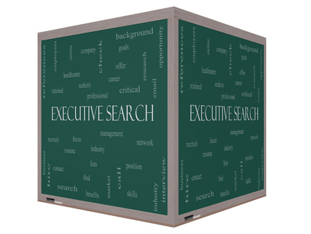 retained: Executive Search Word Cloud Concept on a 3D cube Blackboard with great terms such as management, recruiter, career and more.