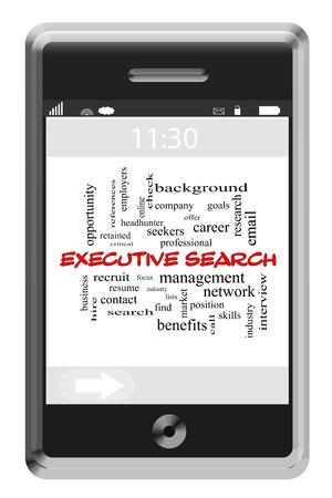 retained: Executive Search Palabra Nube Concepto de teléfono con pantalla táctil con grandes términos como habilidades, resumer, encontrar y mucho más. Foto de archivo