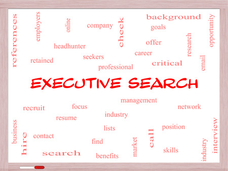 retained: Executive Search Word Cloud Concept on a Whiteboard with great terms such as management, recruiter, career and more.
