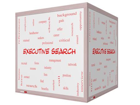 retained: Executive Search Palabra Nube Concepto en una pizarra cubo 3D con los términos de la gestión, reclutador, carrera y mucho más.