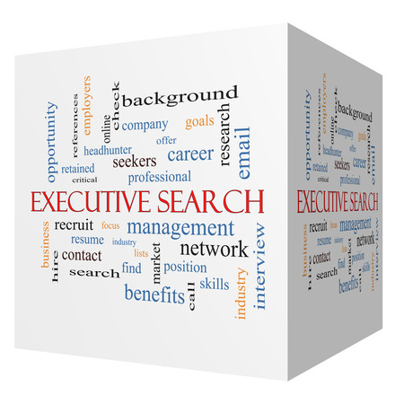 retained: Executive Search 3D cube Word Cloud Concept with great terms such as management, recruiter, career and more.