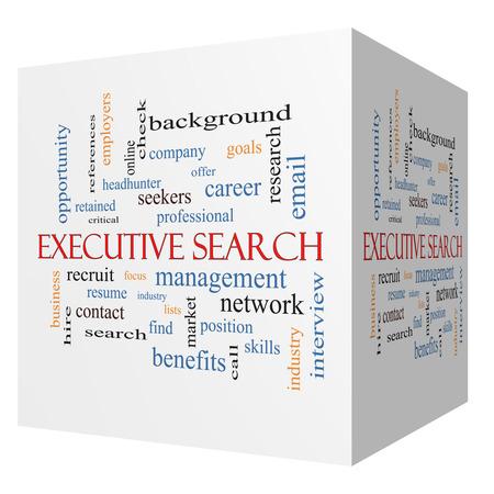 retained: Executive Search cubo 3D Palabra Nube Concepto con los t�rminos de la gesti�n, reclutador, carrera y mucho m�s.