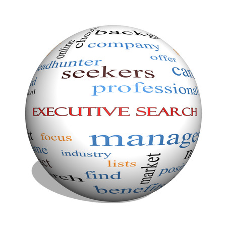 retained: Executive Search 3D esfera Palabra Nube Concepto con los términos de la gestión, reclutador, carrera y mucho más.