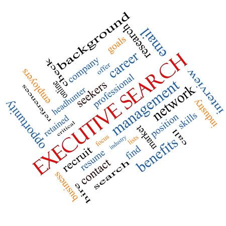 retained: Búsqueda de Ejecutivos Palabra Nube Concepto en ángulo con los términos de la gestión, reclutador, carrera y mucho más.