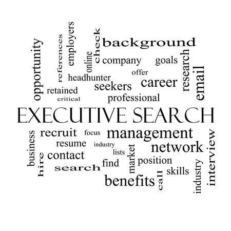 retained: Búsqueda de Ejecutivos Palabra Nube Concepto de blanco con los términos de la gestión, reclutador, carrera y más y negro. Foto de archivo