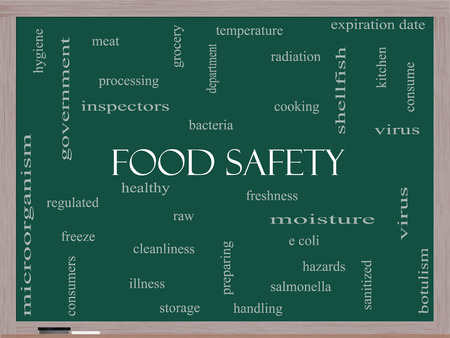 Food Safety Word Cloud Concept on a Blackboard with great terms such as hazards, e coli, cooking and more. Stock Photo