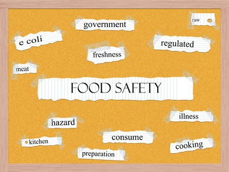 Food Safety Corkboard Word Concept with great terms such as meat, kitchen, consume and more. Stock Photo