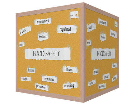Food Safety 3D cube Corkboard Word Concept with great terms such as meat, kitchen, consume and more.